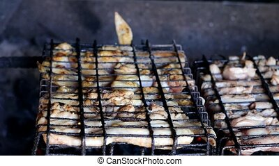 gril, grill., viande, cuisine, grillade, poulet, bbq., barbecue
