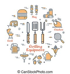 gril, icônes concept, equipment., grillade, rond