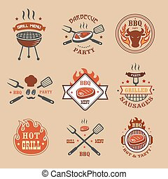 gril, insignes, logos, étiquettes, barbecue, barbecue