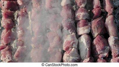 gril, kebabs, cuit