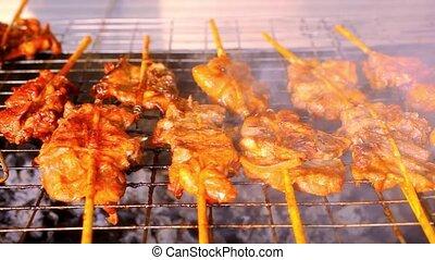 gril, morceaux, bâtons., haut, bois, fin, viande, friture