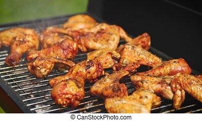 gril, morceaux, délicieux, barbecue, friture, poulet
