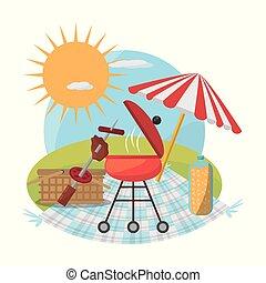 gril, nourriture pique-nique, ensoleillé, panier, parapluie