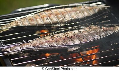 gril, placé, savoureux, poissons, barbecue, entier