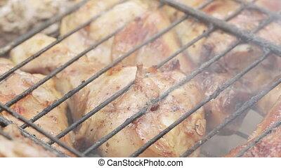gril, poulet, cuisine