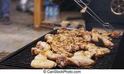 gril, poulet, cuisine, viande, barbecue