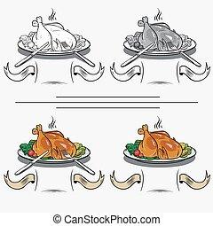 gril, poulet, cuit