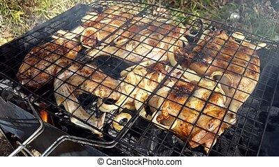 gril, poulet, frit