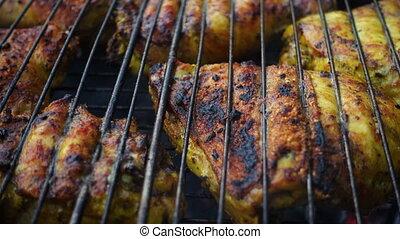 gril, poulet, viande, barbecue