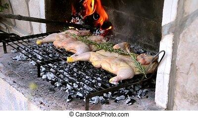 gril, poulet, viande préparation
