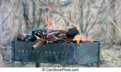 gril, préparer, barbecue