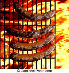 gril, saucisses, barbecue