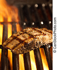 gril, saumon, filet, flammes