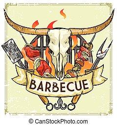 gril, texte, -, illustration, étiquette, échantillon, vecteur, conception, barbecue