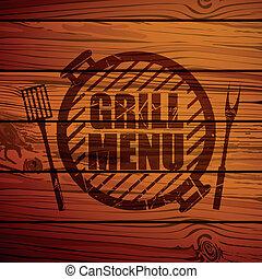 gril, vecteur, conception, gabarit, menu