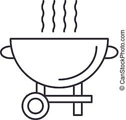 gril, vecteur, coups, editable, illustration, signe, fond, icône, barbecue, ligne