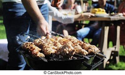 gril, viande, été, cuisine, fête, barbecue, homme