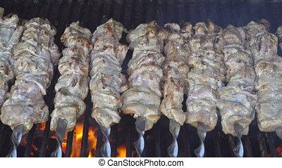 gril, viande, chiche-kebab, cuit, brochettes, cuisine, métal, smoke., rôti, grillé, barbecue