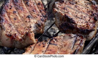 gril, viande, cuisine, juteux, frais, barbecue
