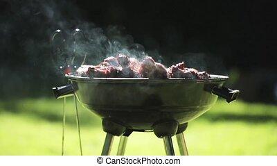 gril, viande, dehors, brasero, barbecue, ou