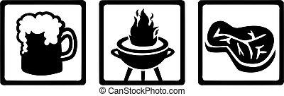 gril, viande, icônes, -, bière, barbecue