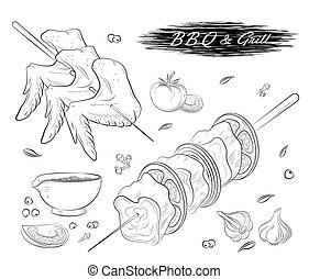 gril, viande, légumes, sauce barbecue, épice