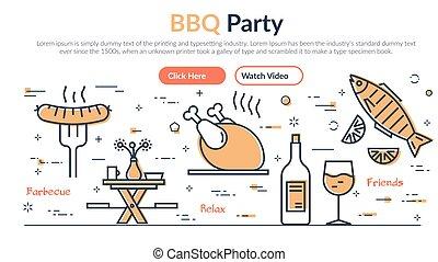 gril, webpage, -, illustration, fête, barbecue