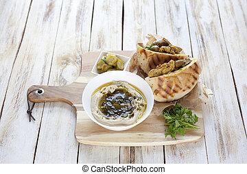 gril, yerushalmi., israélien, cuisine., mélangé, jérusalem,...