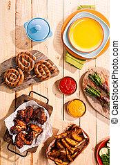 grillé, été, viande, barbecue