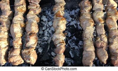 grillé, barbecue, mea, délicieux