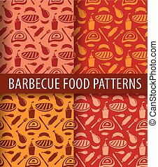 grillé, barbecue, viande, motifs