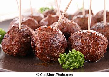 grillé, boulettes viande