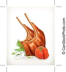 grillé, côtes, viande