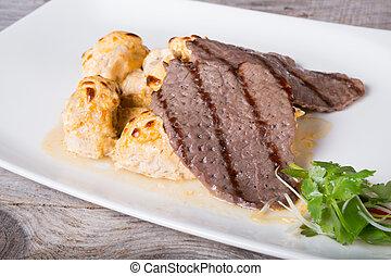 grillé, champignons, bifteck, boeuf