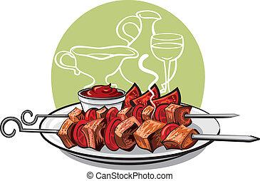 grillé, chiche-kebab, viande