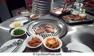 grillé, coréen, barbecue