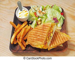 grillé, cubaine, sandwich