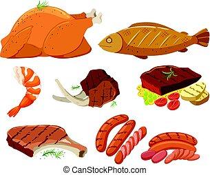 grillé, différent, viande, types