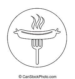 grillé, fourchette, saucisse, icône