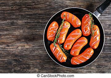 grillé, frais, saucisses, juteux, thym