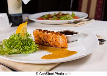grillé, garnitures, fish, plaqué