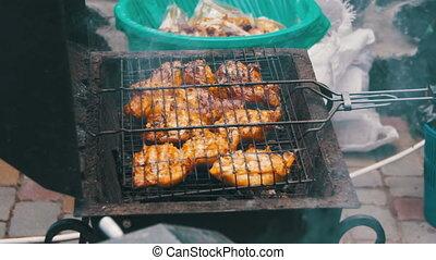 grillé, gril, poulet