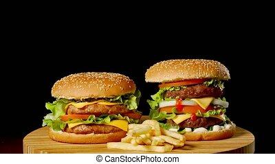 grillé, hamburgers, délicieux