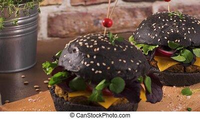 grillé, hamburgers, savoureux, végétarien