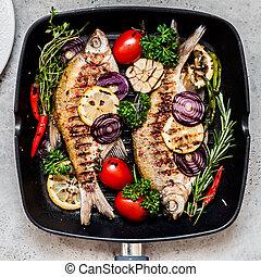 grillé, herbes, breams, végétariens
