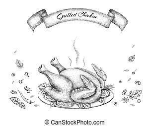 grillé, herbes, poulet, épices, plat