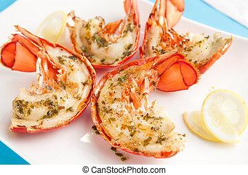 grillé, homard, queues