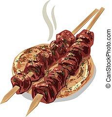 grillé, keab, viande