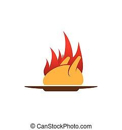 grillé, logo, chaud, poulet, gabarit