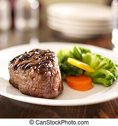 grillé, plaque, légumes, bifteck